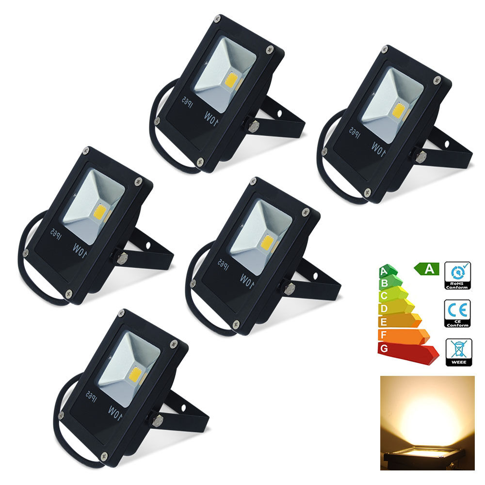 5x 10W LED Floodlight Security Lights Indoor Outdoor Garden