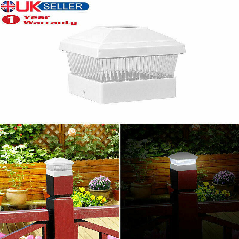 Outdoor Solar Powered LED Deck Post Light Garden Cap Square