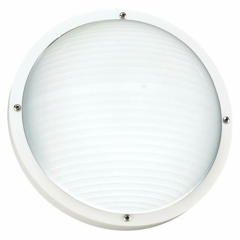 Sea Gull Lighting  White Bayside 1-Light Outdoor Flush