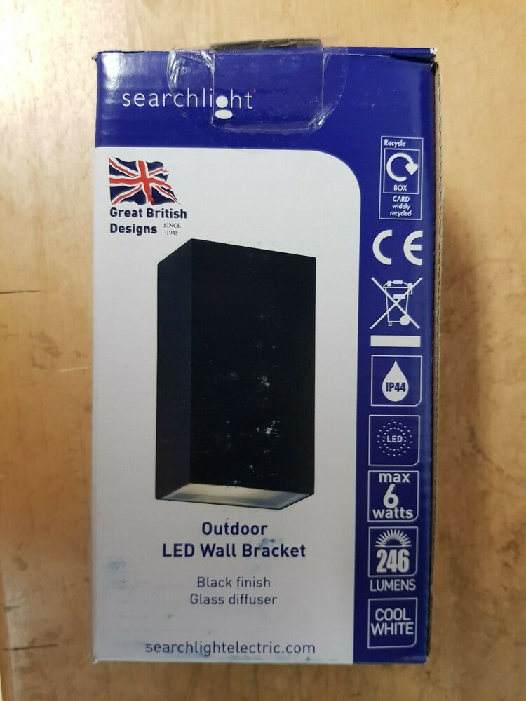 Searchlight BK Outdoor Up & Down LED Rectangle Wall