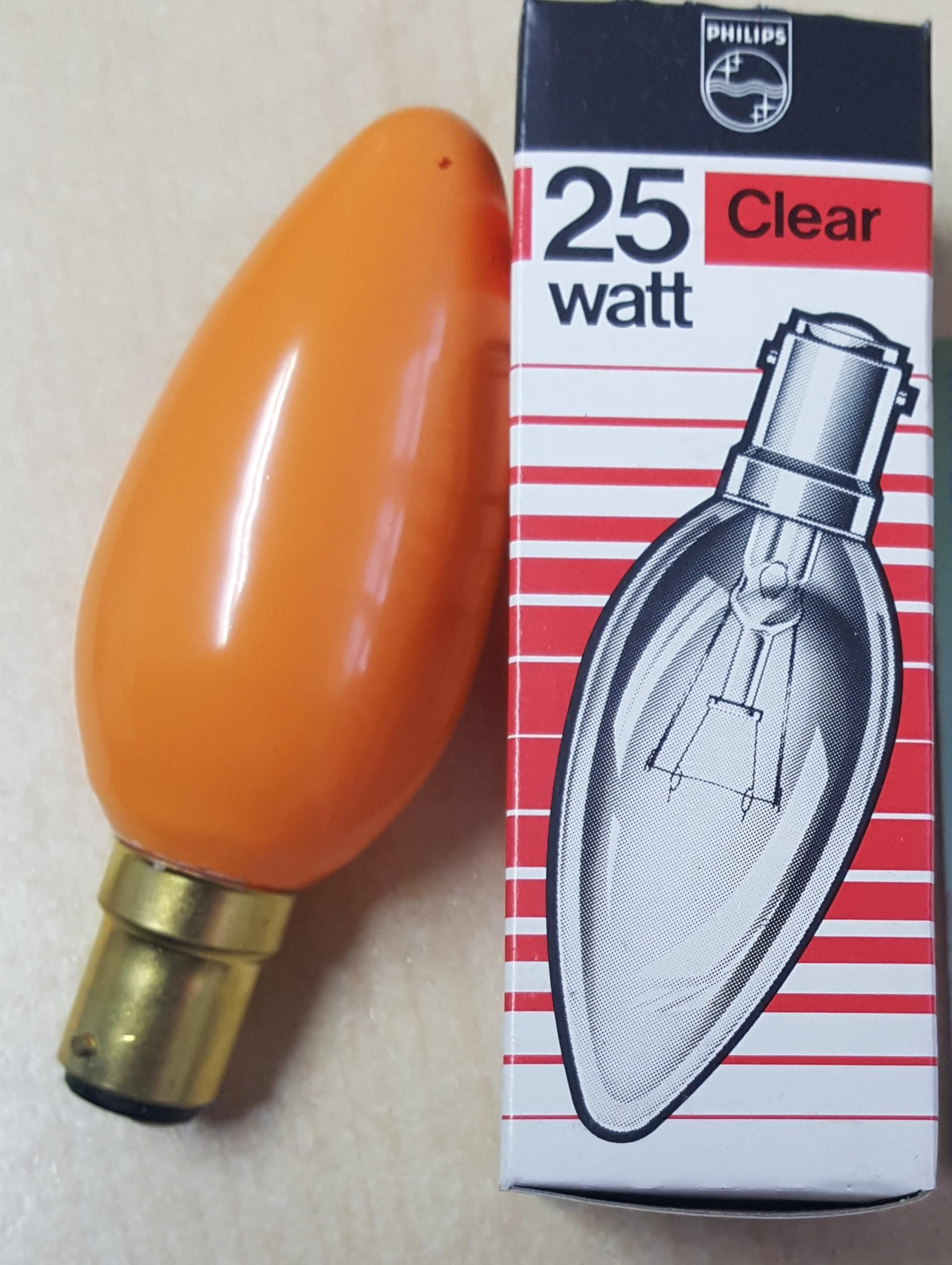 20 X CANDLE AMBER SBC 25 WATT 240VOLTS BY PHILIPS