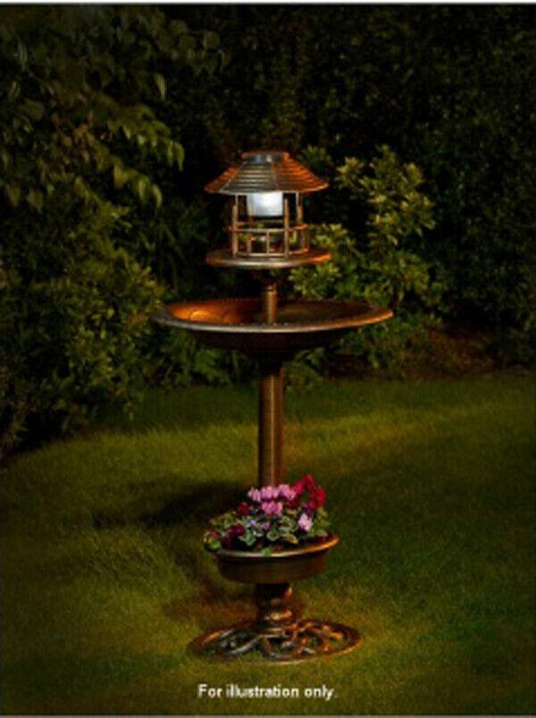 4 IN 1 Solar Powered Bird Bath, Feeder & Planter With White