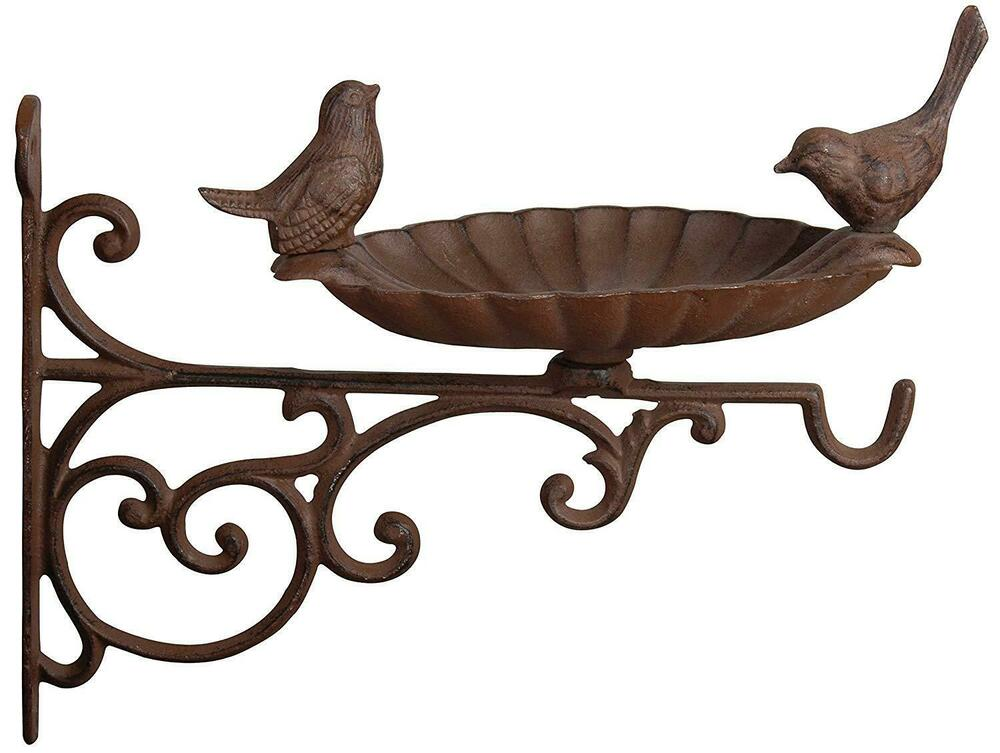 Bird Bath/Feeder Wall Mounted Bracket Brown Cast Iron Garden