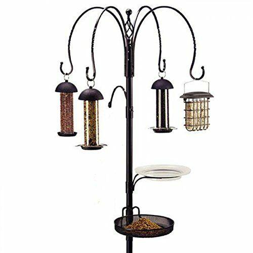 Garden Bird feeding Station Wild Birds 4 Feeders Peanut Seed