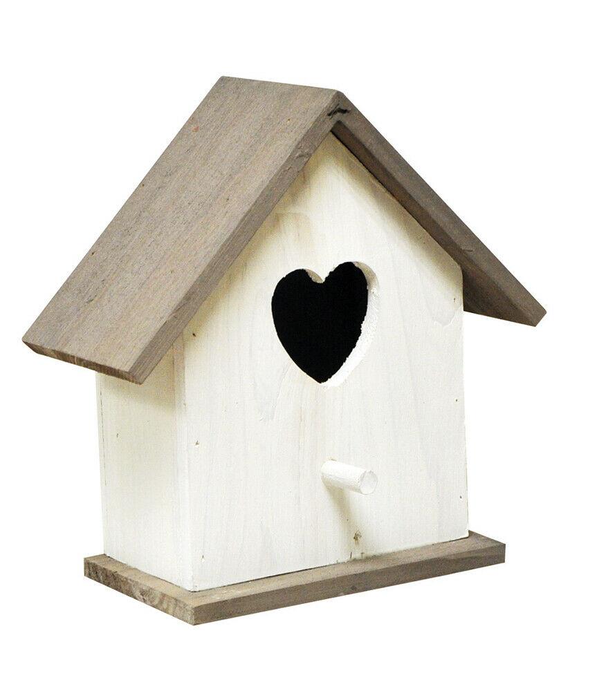 Hanging WHITE Wooden Love Bird House Feeding Station Nest