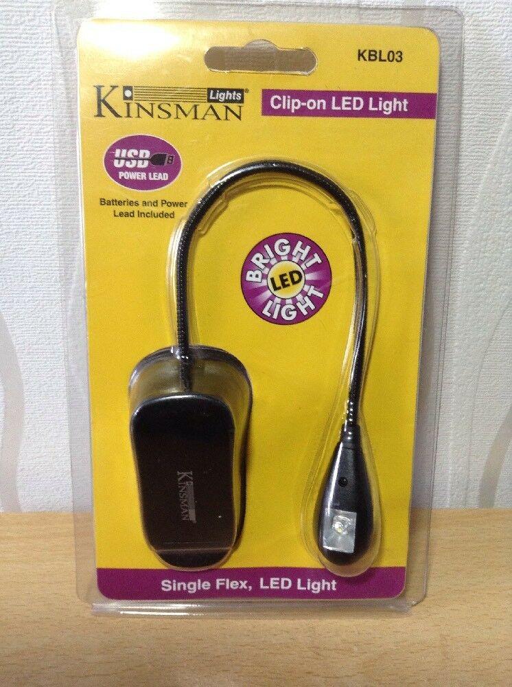 KINSMAN CLIP ON SINGLE FLEX LED LIGHT BATTERIES & USB