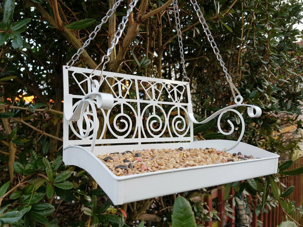 Unique Metal Hanging Bird Feeding Chair Station Table Feeder