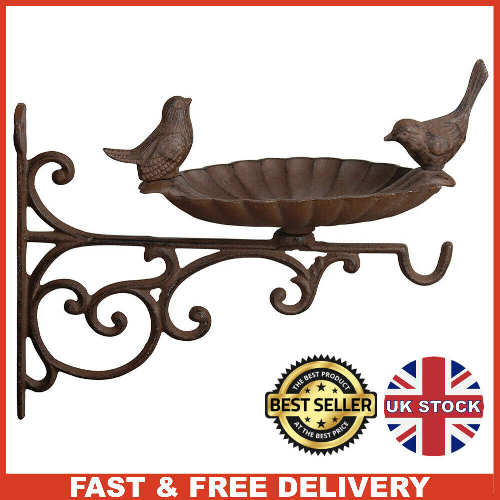 Wall Mounted BROWN Cast Iron Metal Round Bird Bath / Feeder