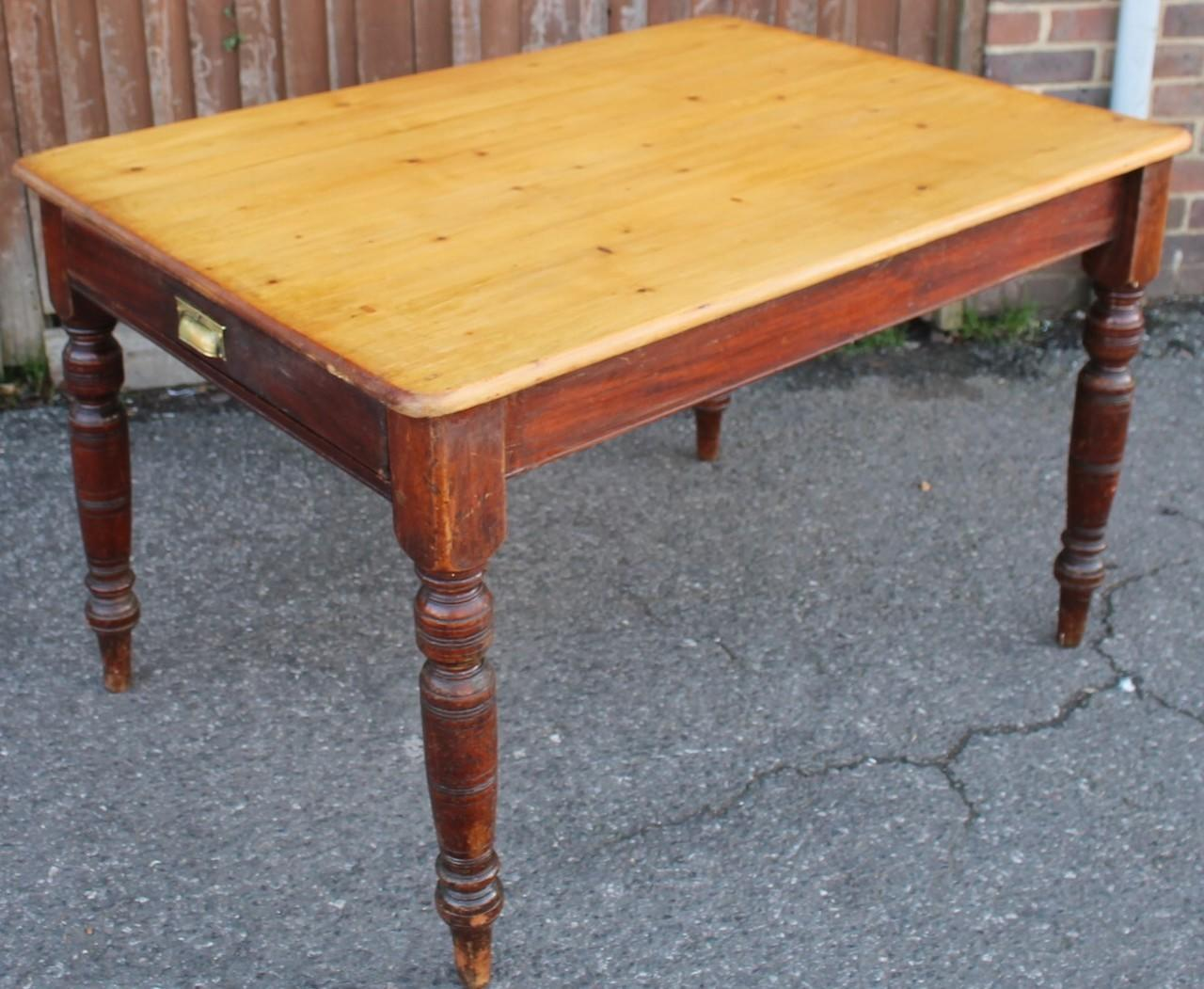 """3ft10"""" Antique Pine Table with Drawer"""