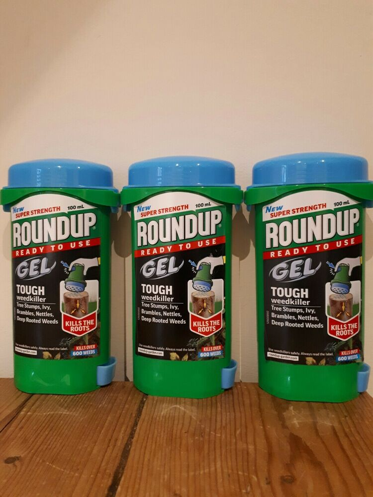 3 x Roundup Ready To Use Tough Weedkiller Gel 100ml Super