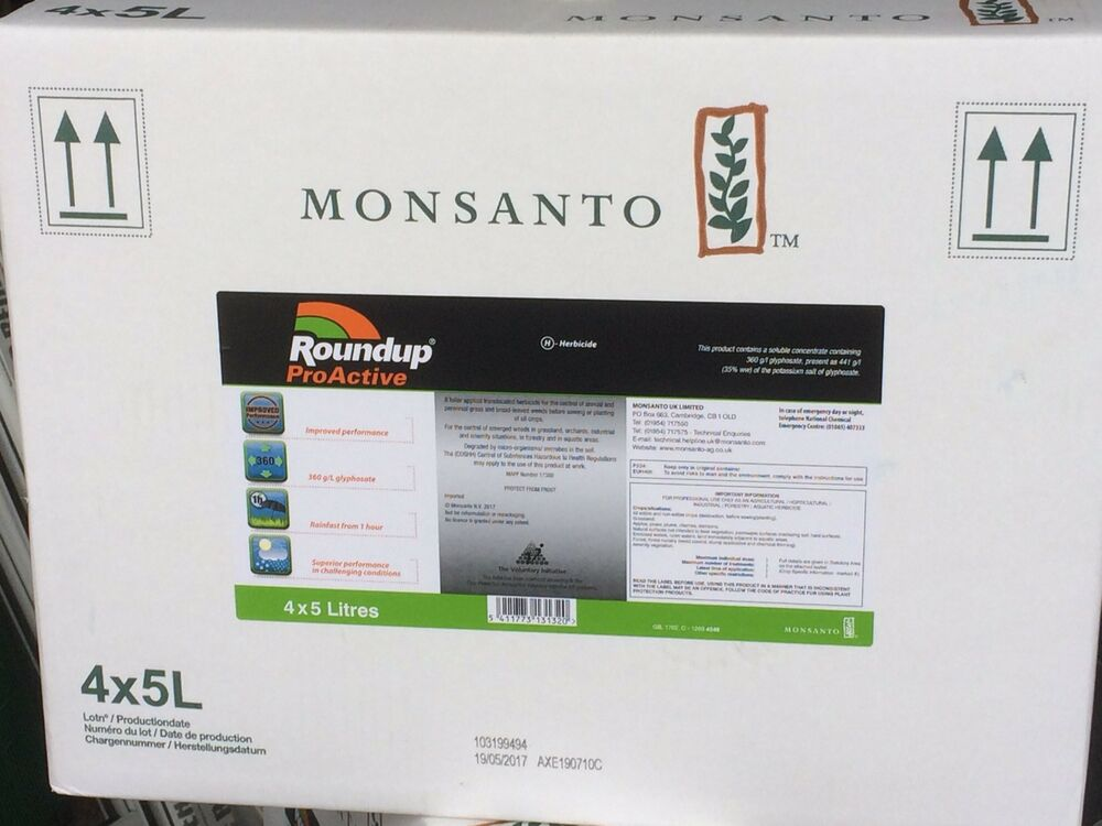 4 X 5L ROUNDUP PROACTIVE 360 STRONG PROFESSIONAL GLYPHOSATE