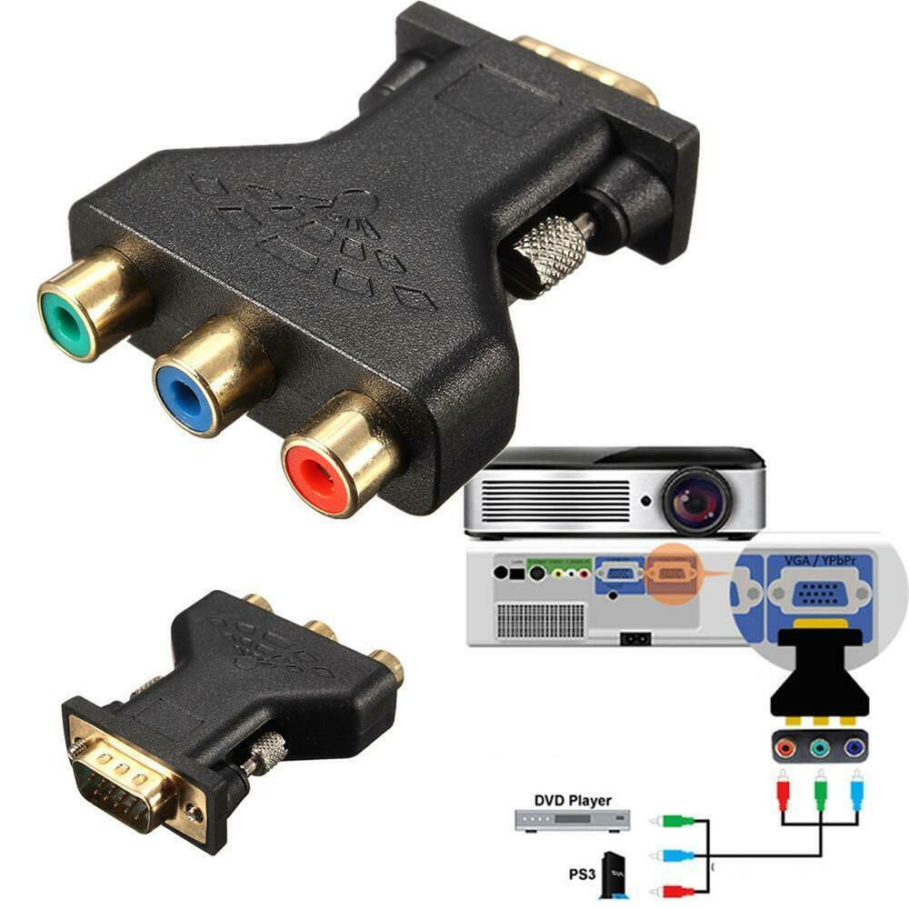 15Pin VGA Male To 3 RCA Female Converter Splitter Component