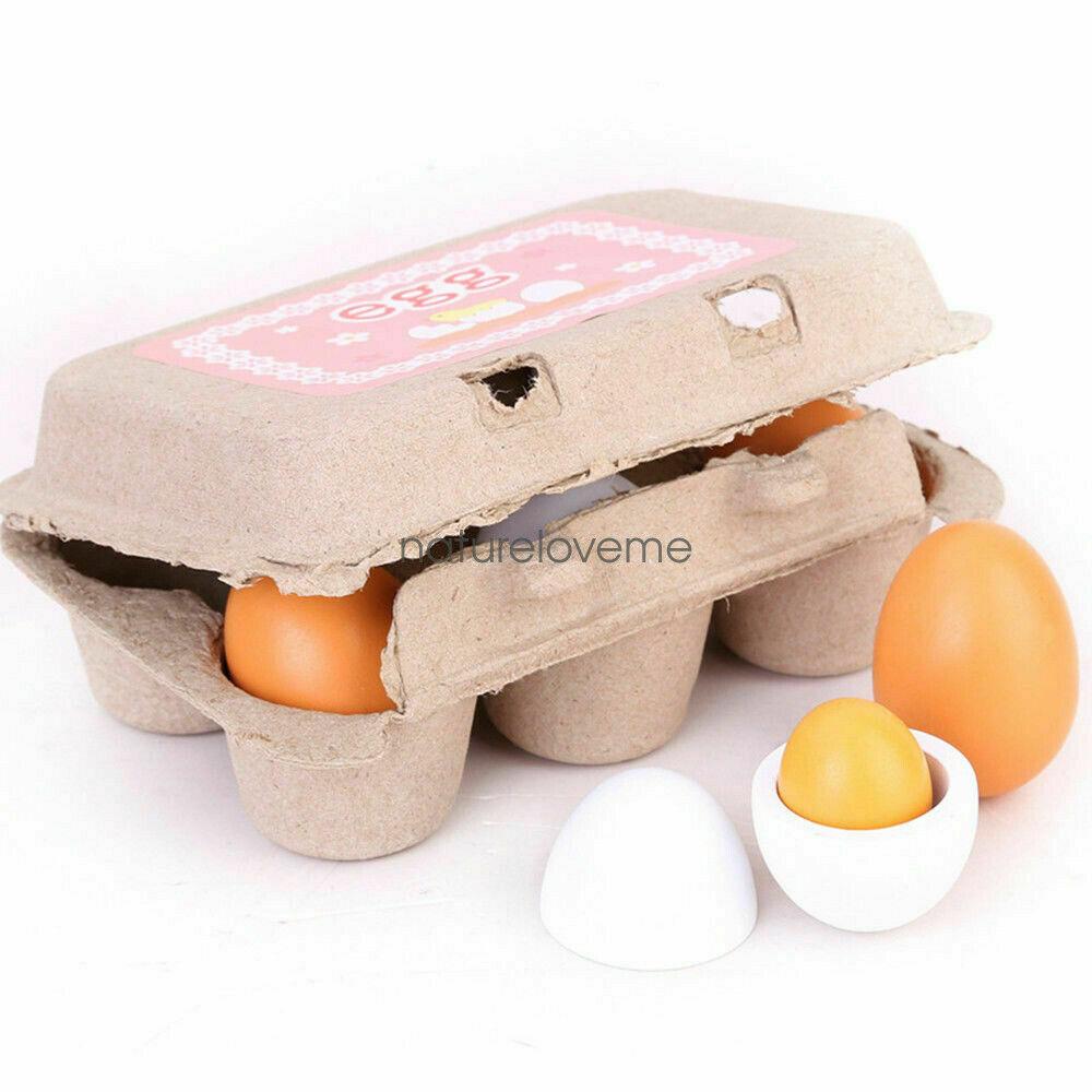 6x Wooden Eggs Yolk Pretend Play Kitchen Food Cooking Set