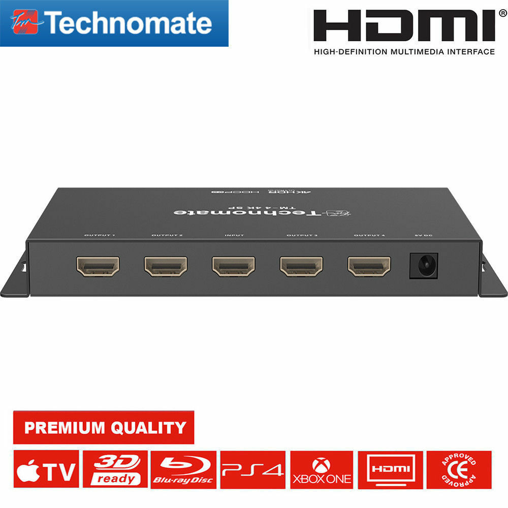NEW Technomate TM-4 4K HDSP UHD 4-Way HDMI 2.0 Splitter Full
