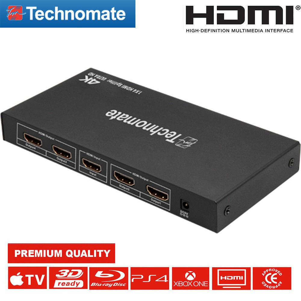 NEW Technomate TM-4 HDSP 4-Way HDMI Splitter 4k2k Ultra HD