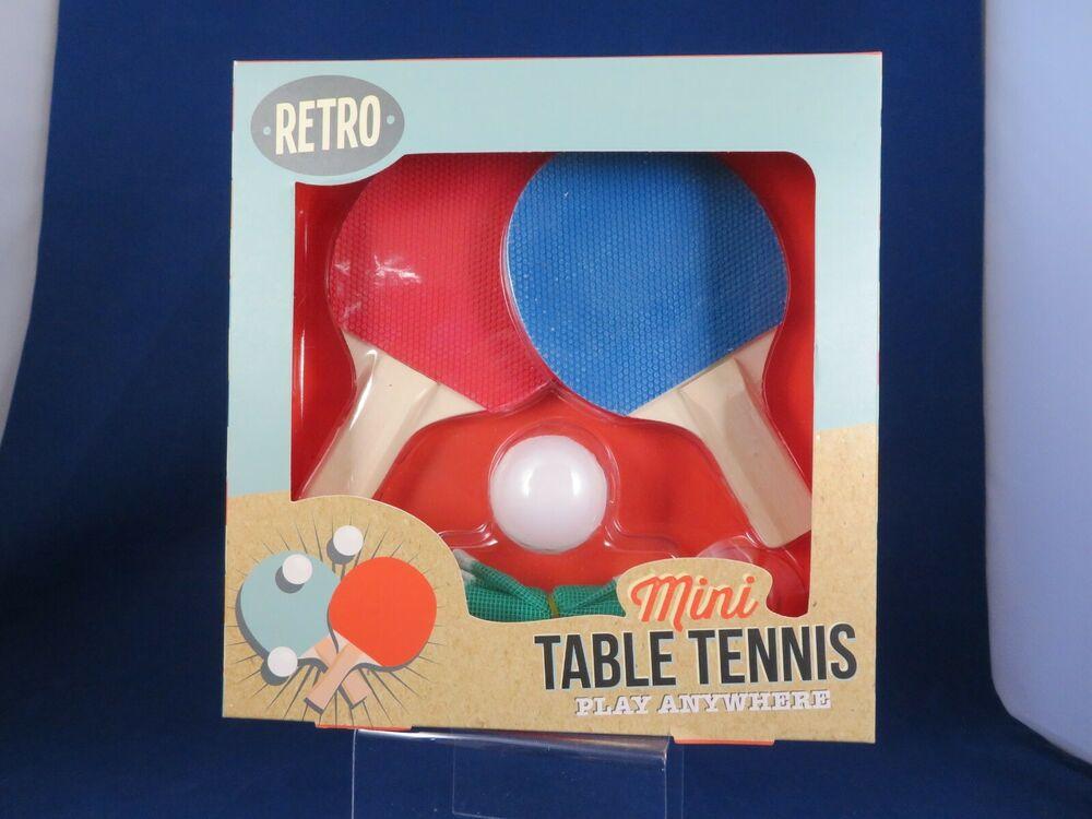 Retro Mini Table Tennis Set 2 Bats Ping Pong Ball Net Boxed