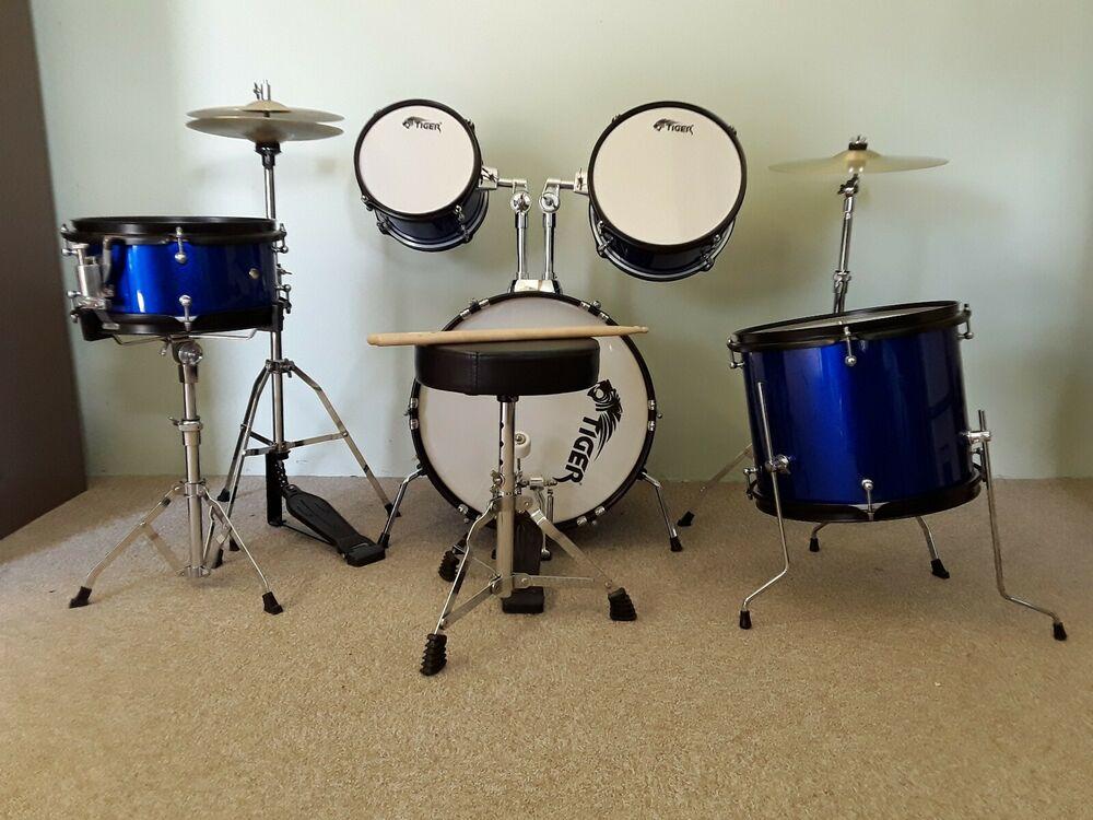 Tiger 5 piece junior drum kit - blue, used