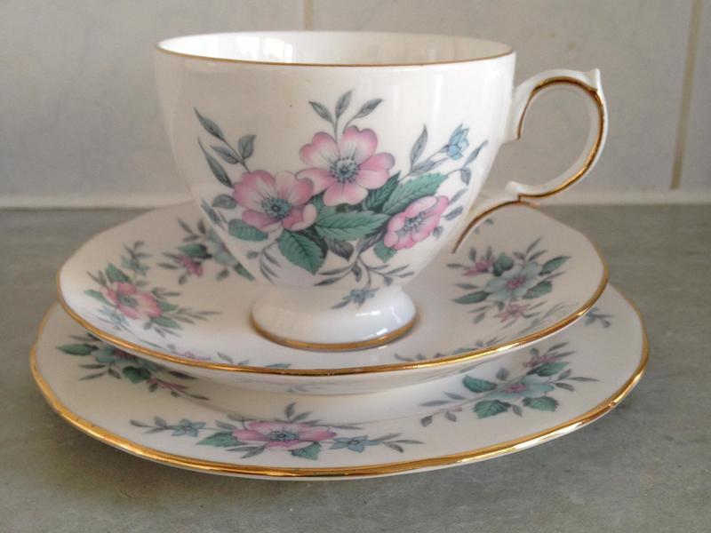 Vintage bone china trio tea set
