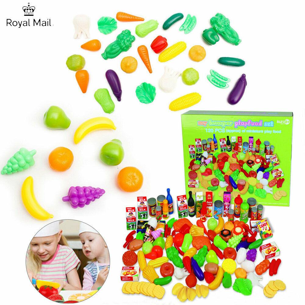 120 Pcs/Set Plastic Food Fruits Vegetables Toys Kitchen