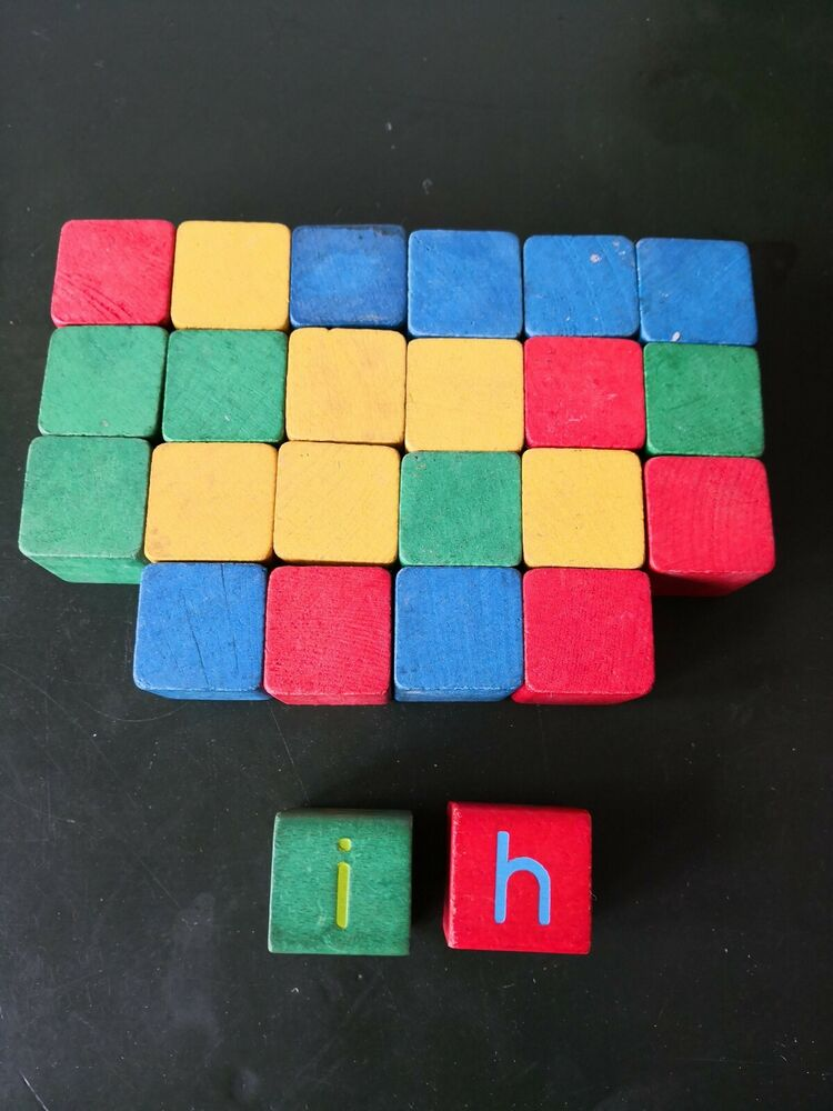 24 pieces Wooden Building Blocks, nice vintage blocks,