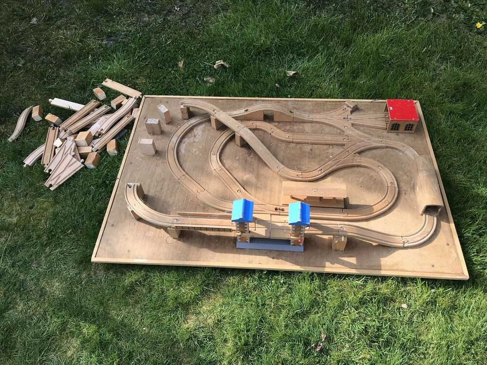 Large Wooden Train Table Set