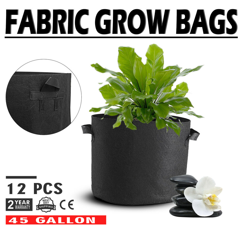 12 Pack 45 Gallon Fabric Plant Grow Bags With Handles Black