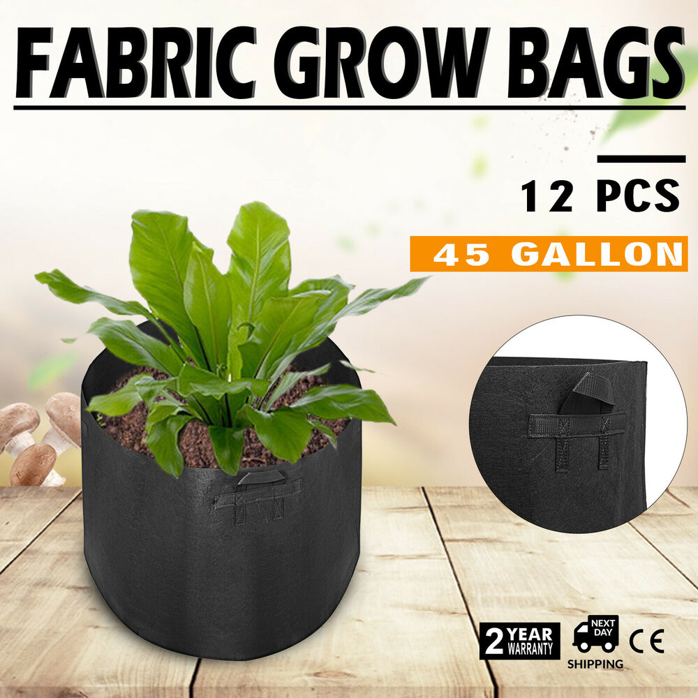12 Pack 45 Gallon Fabric Plant Grow Bags With Handles Bucket