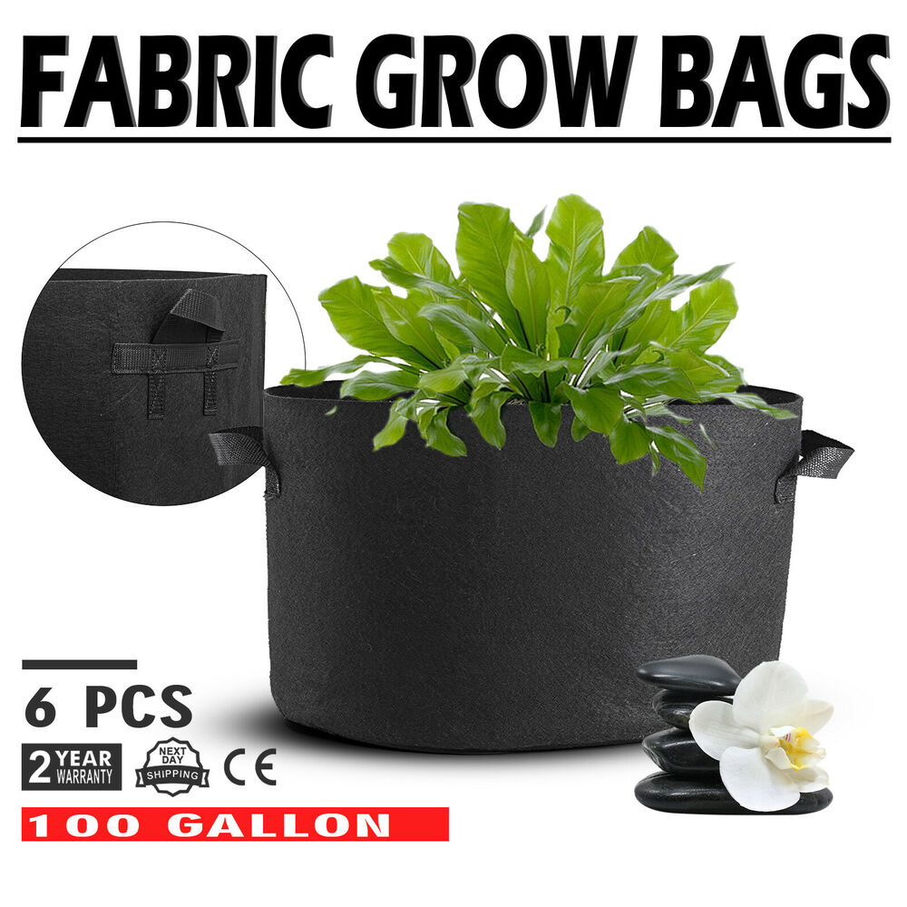 6 Pack 100 Gallon Fabric Plant Grow Bags With Handles