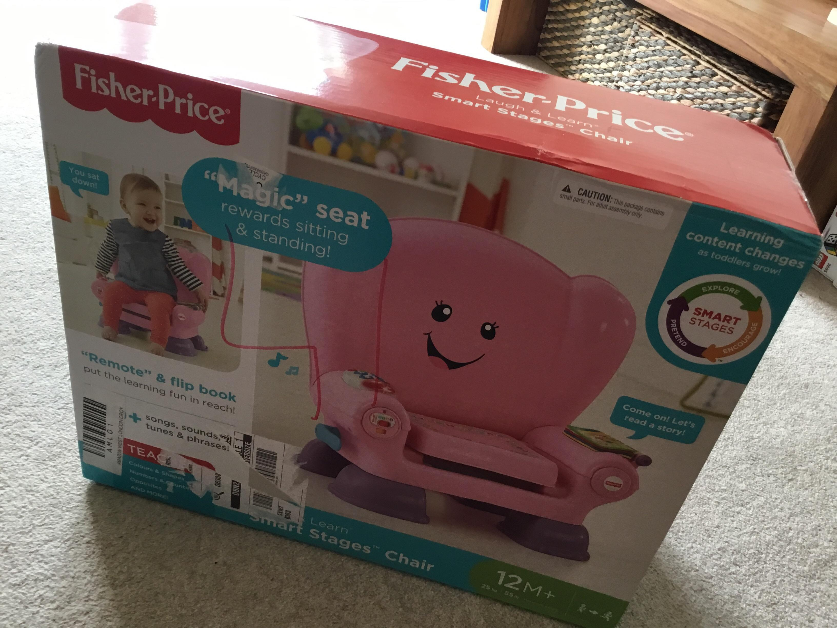 Fisher Price magic seat pink learning smart stage chair BN
