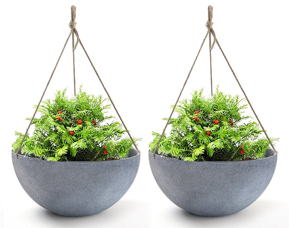 Hanging Planters Large 13.2 in Resin Flower Pots Outdoor,