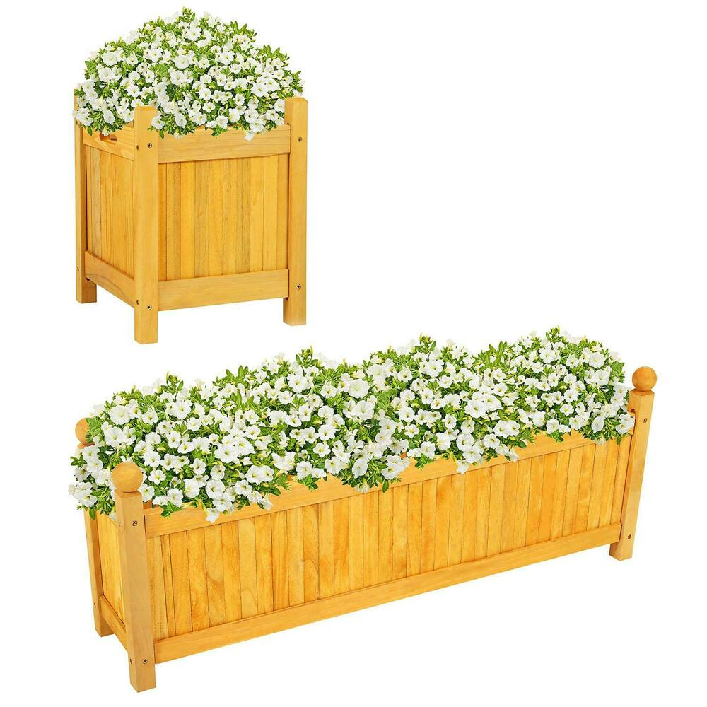 Large Decking Wooden Garden Planter Plants Flowers Pot