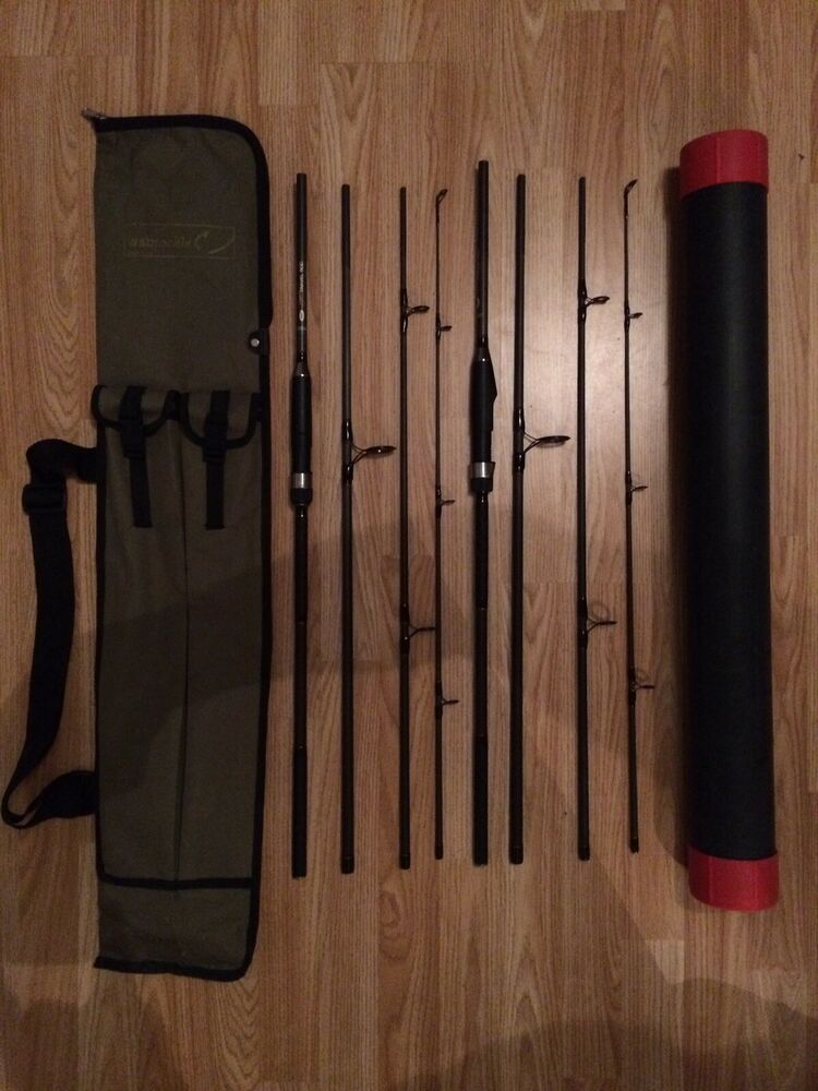 2 x NGT DYNAMIC 9FT 4 PIECE TRAVEL CARBON FISHING RODS CARP
