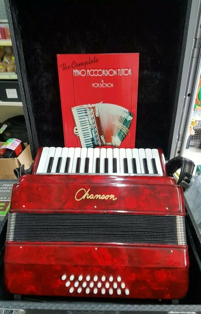 Accordion. CHANSON - 24 Bass Piano Accordion - red
