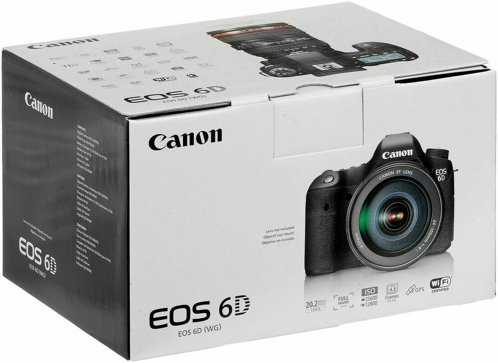 Boxed Canon EOS 6D 20.2MP Digital SLR Camera - Black, full