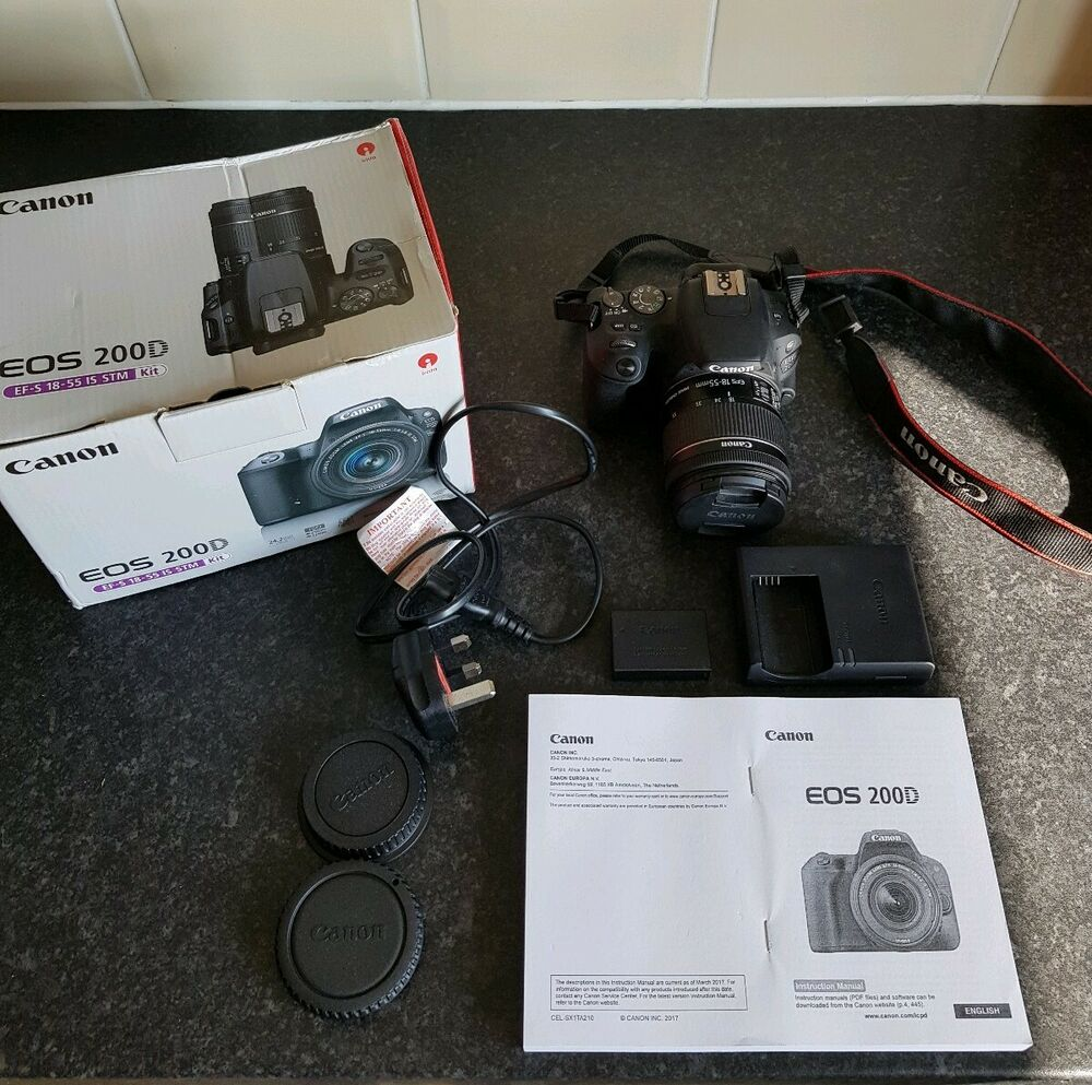 CANON EOS 200D DSLR CAMERA BLACK + EF-S mm 4-5.6 IS STM