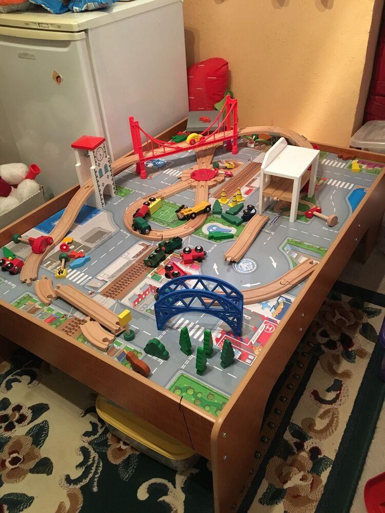 ELC Big City Wooden Train table & Train set