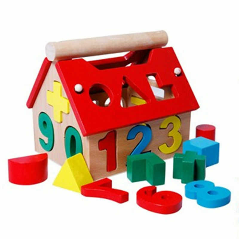 Posting House Shape Sorter Wooden Number Toys Kids