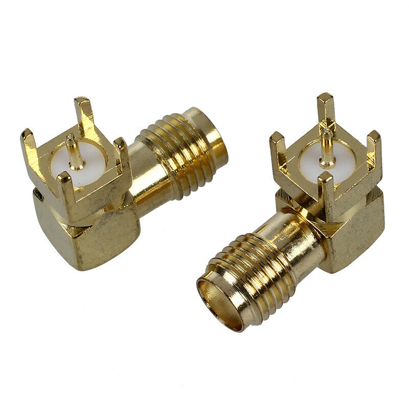 2 Pcs SMA Female Jack Panel Mount PCB Solder Connectors Gold