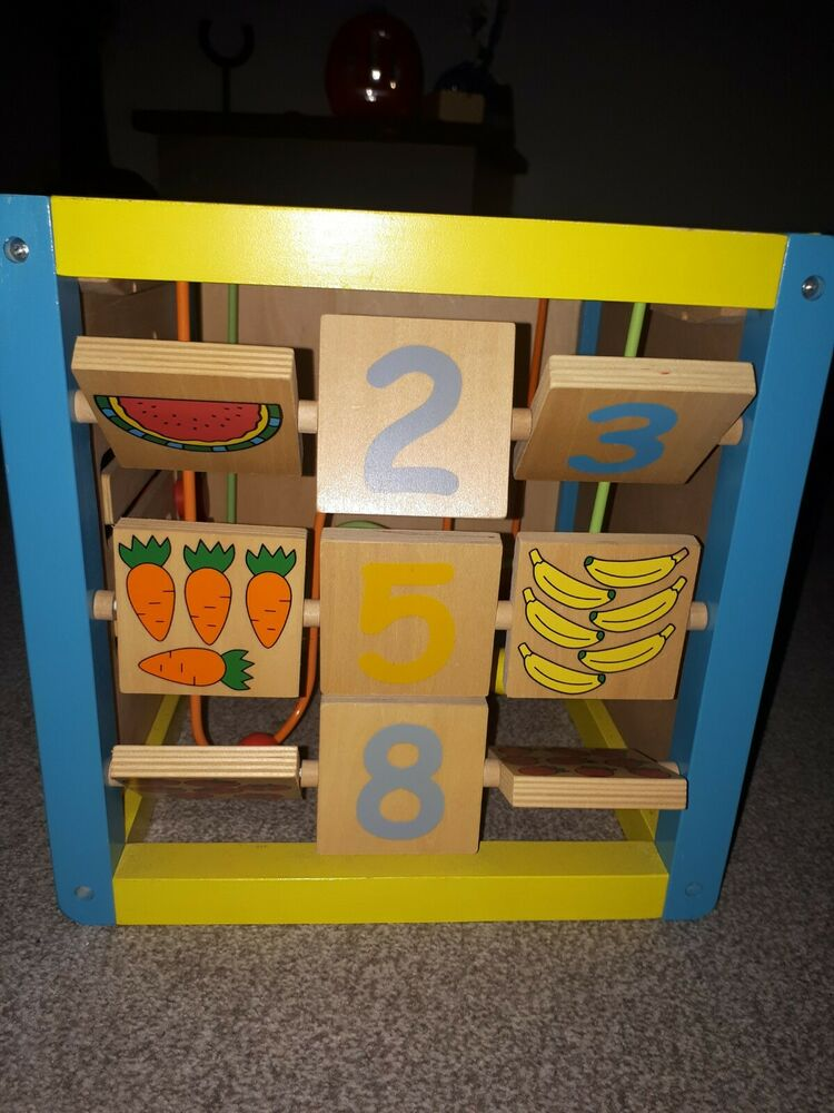 Baby Toddler Wooden Activity Cube Toy Educational Fun