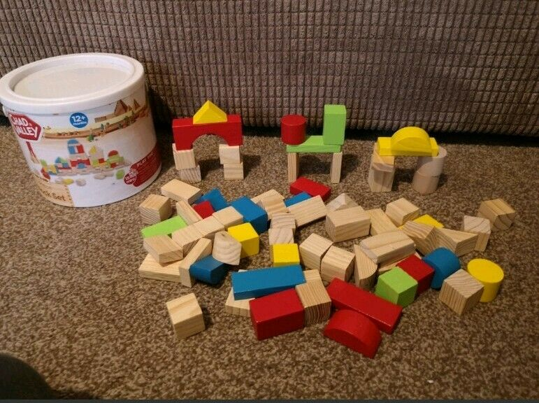 Chad Valley Wooden Building Blocks Kids Toys Bricks Build