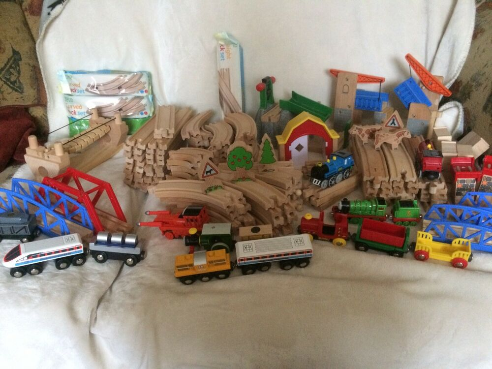 Large Wooden Train Set - Over 100 Pieces