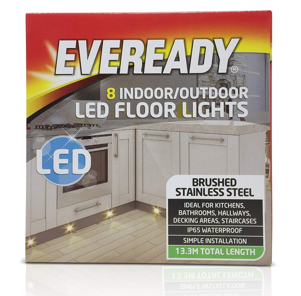 Eveready 8 Indoor Outdoor LED Decking Lights Floor Brushed