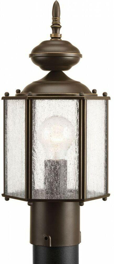 Post Light Lantern Aluminum Antique Bronze Clear Seeded