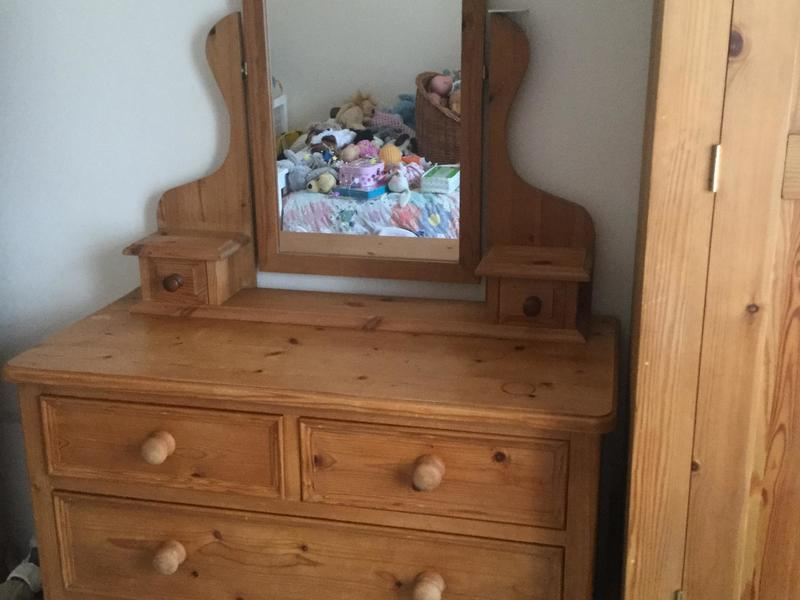 Solid waxed pine chest of drawers with mirror / dressing