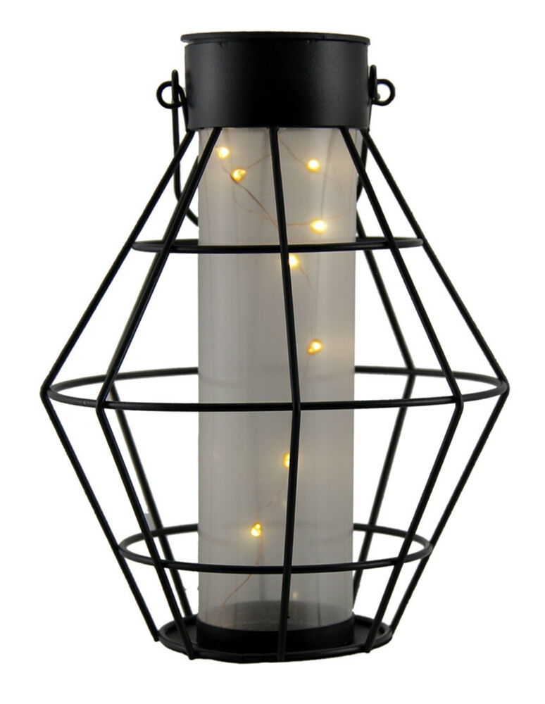 Zeckos Black Metal Hexagon Cage Solar LED Lantern Light
