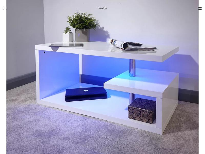 Brand new white high gloss LED coffee table