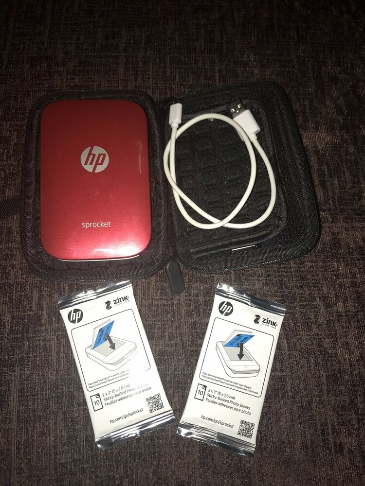 HP Sprocket 100 Photo Printer - Red With case & paper