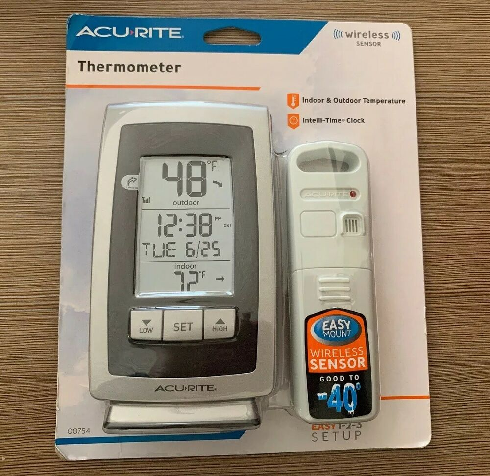 Acu-Rite Wireless Sensor Indoor Outdoor Thermometer High Low