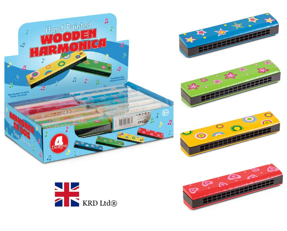 WOODEN HARMONICA Kids Musical Toy Vintage Christmas Gift