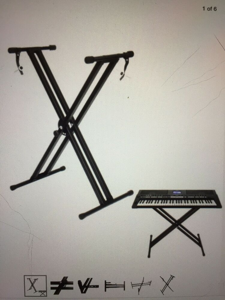 Heavy Duty Folding Adjustable Keyboard Stand Double X Frame